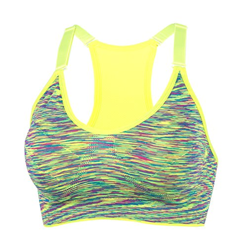 YEYELE Women 1or 3 or 5 Pack Adjustable Strap and Removable Pad Tank Top Racerback Sports Bra Green