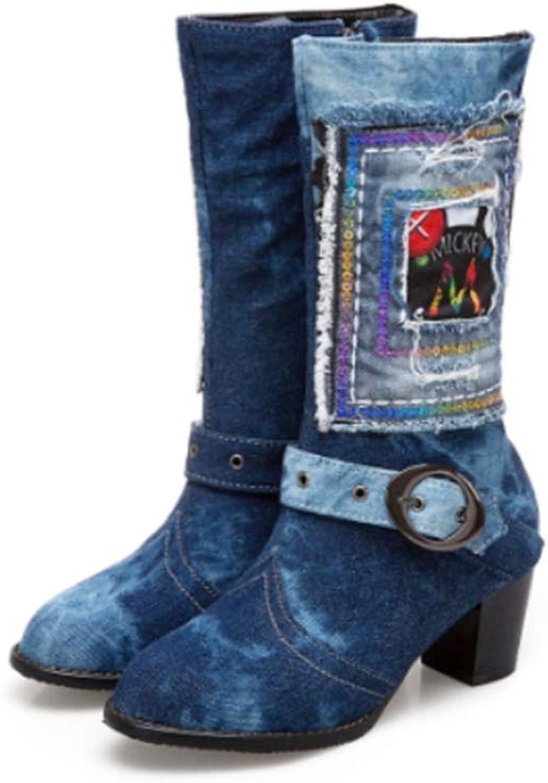 JOYBI Women Fashion Mid Calf Boots Print Denim Slip-On Round Toe Winter Ladies Buckle Chunky Mid Heel Boots