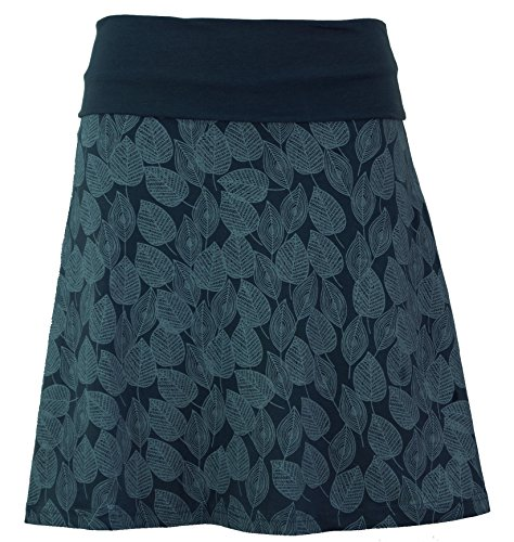 Guru-Shop Minirock aus Bio-Baumwolle, Boho Tellerrock Herbstlaub Print Organic, Damen, Orion Blue, Size:M (38), Röcke/Kurz Alternative Bekleidung