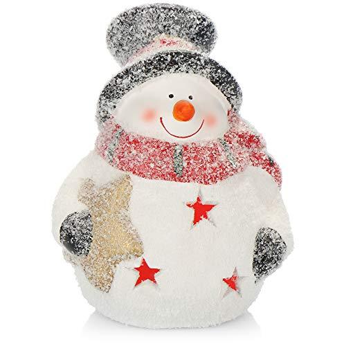 com-four Figura navideña LED Nevada - Muñeco de Nieve de 15 cm de cerámica - Figura Decorativa con luz LED para el Invierno y la Navidad - con la batería (Monigote de Nieve)