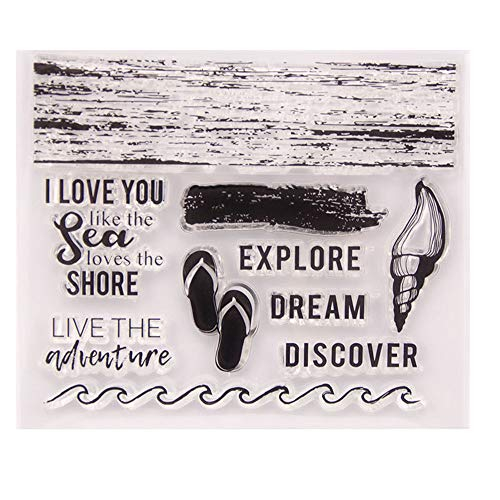 Sea Waves Beach Adventure Discover Seashell Clear Stamp Rubber Clear Stamp/Seal Scrapbook/Photo Album Decorative Card Making Clear Stamps