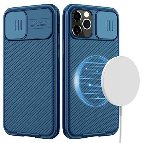 CloudValley Hülle für iPhone 12 Pro Max 6,7'' mit Kamera Abdeckung & Magnet, MagSafe Mnterstützen, Dünne Stoßfeste Schutz Handyhülle (Blau)