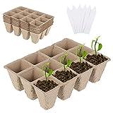 6 Piezas Macetas De Turba Biodegradables Bandejas De Plántulas Tazas De Vivero con 6 Etiquetas De Plástico para Plantas Macetas De Cultivo Tazas para Criar Plantas