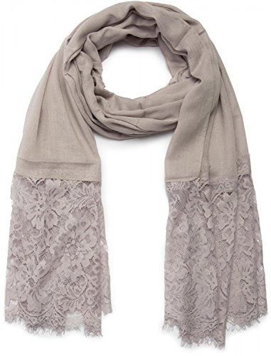styleBREAKER unifarbener Schal mit Spitze, Blumen Muster und Fransen, Stola, Tuch, Damen 01016112, Farbe:Hellgrau