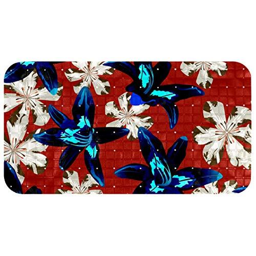 nakw88 Alfombrilla de ducha de masaje de 26.9 x 14.7 pulgadas con agujeros de drenaje para suelo hermosas flores filipinas