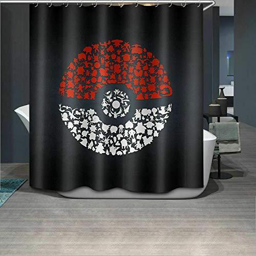 Aliyz Pokemon schwarzem Hintergr& Home Hotel Badezimmer Dekoration mit Haken wasserdicht Mehltau Stoff Duschvorhang Vorhang Polyester Material 71x71 Zoll