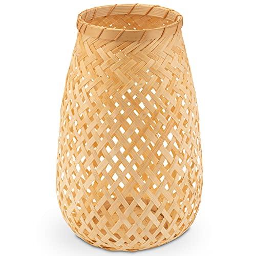 Decorasian Windlicht geflochten aus Bambus, dekorativer Teelichthalter - Teelicht Halterung