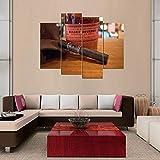 KOPASD Art Enlienzo Póster Cigarro 4 Piezas Pared Mural para Decoracion Cuadros Modernos Salon Dormitorio Comedor Cuadro Impresión Piezasmaterial