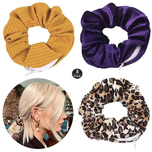 ZOEAST(TM) Hidden Pocket Premium Velvet Scrunchie with Secret and Hidden Zipper, Soft Hair Ties Bracelet, Key Money Storage Bag Wallet, Elastics Hair Band (Yellow Purple Leopard)