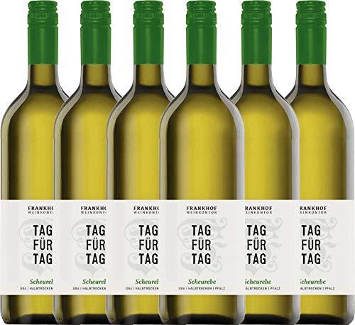 VINELLO 6er Weinpaket Weißwein - Tag für Tag Scheurebe halbtrocken 1,0 l 2019 - Frankhof Weinkontor mit Weinausgießer   halbtrockener Weißwein   deutscher Sommerwein aus der Pfalz   6 x 1,00 Liter