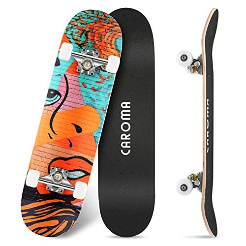 Skateboard para Principiante,79cm×20cm Completo Patineta,9 Capa Monopatín Madera Arce Tabla Double Kick Concave Standard Trick Cruiser Skateboards,para Niña Niño Adulto Adolescentes (9-Color Wall)