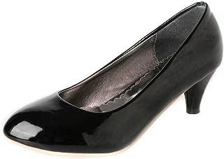 BalaMasa Womens Solid Burnished Fashion Urethane Pumps Shoes APL10400