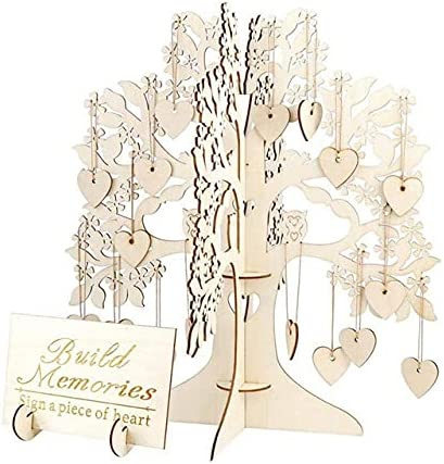 Wedding NEW before selling ☆ Guest Book Max 77% OFF Signature Message Tree De Unique Wooden Frame