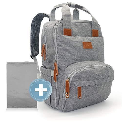 Emadele Wickelrucksack grau große Kapazität Wickeltasche groß mit Wickelunterlage als Reiserucksack & Kliniktasche geeignet. Wasserdicht und Öko Tex Haken Halterung Kinderwagen inkl. Zubehör