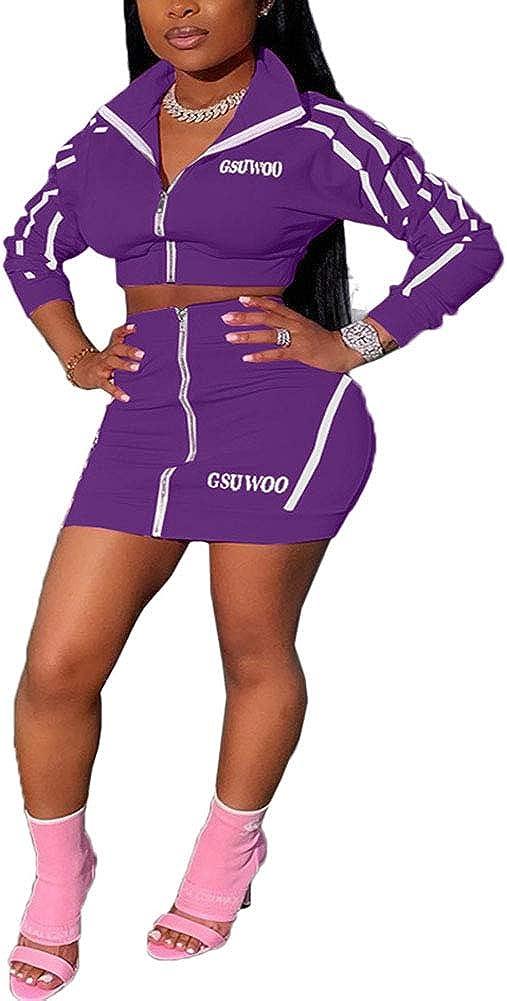Women 2 Piece Outfits Tracksuit Stripe Lapel Zipper Jacket Crop Top + Mini Skirt Set