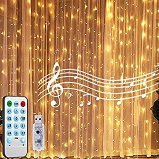 24HOCL 300 LEDs Curtain String Lights, 12 Modes USB Powered Fairy Lights with Sound Activated & Timer Function for Bedroom...
