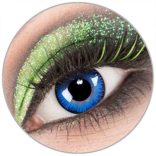 Farbige blaue schwarze 'Space Blue' Kontaktlinsen ohne Stärke 1 Paar Crazy Fun Kontaktlinsen mit Kombilösung (60ml) + Behälter zu Fasching Karneval Halloween - Topqualität von 'Giftauge'