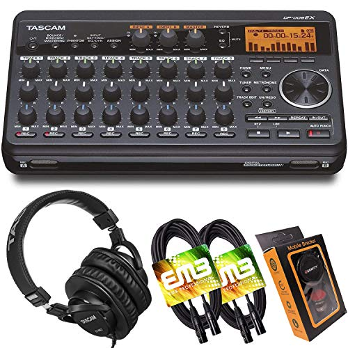 Tascam DP-008EX 8-Track Digital Pocketstudio Multi-Track Audio Recorder with Pro Headphone and Pair of EMB XLR Cables and Gravity Magnet Phone Holder Bundle