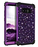 Casetego Compatible with Galaxy Note 8 Case,Glitter Sparkle Bling Three Layer Heavy Duty Hybrid Sturdy Shockproof Protective Cover Case for Samsung Galaxy Note 8,Shiny Purple
