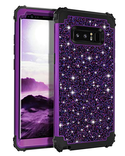 Casetego Compatible Galaxy Note 8 Case,Glitter Sparkle Bling Three Layer Heavy Duty Hybrid Sturdy Armor Shockproof Protective Cover Case for Samsung Galaxy Note 8,Shiny Purple