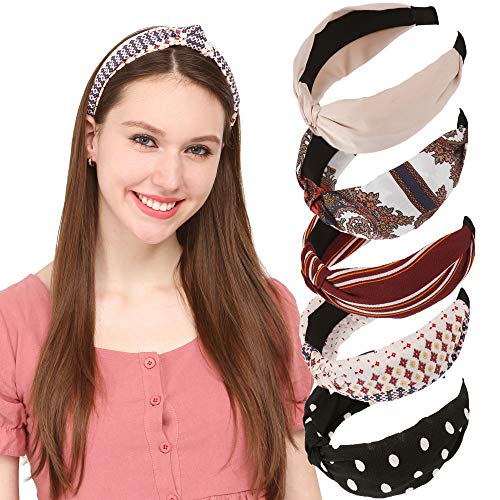 Sea Team Nouveaux bandeaux larges élastiques à la mode avec accessoire de noeud torsadé multicolore pour femmes et filles (paquet de 5)