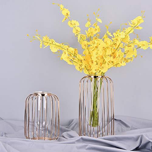 SHIYZII Decoratie, Lichte Lantaarnvormige IJzeren Vaas Nordic Champagne Gold Test Tube Hydroponic Flowerer Moderne Zachte Fittings