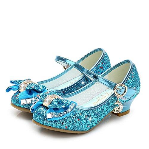 Eozy Kinder Mädchen Glitzer Ballerina Schuhe Prinzessin Schuhe mit Absatz für Hochzeit Kommunion Blau 32 Innenlänge 20cm