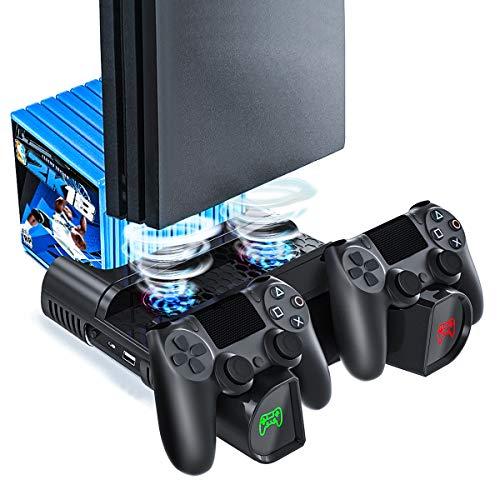 PS4 Slim Pro Vertical Standfuß Lüfter, Likorlove Vertikal Stand Cooling Fan Ständer Kühler Controller Ladestation Charger LED Ladegerät Station USB Hub Blu-Ray Games Halter für Playstation 4 Dualshock