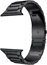LDFAS Compatible for Apple Watch Band 44mm/42mm, Solid Stainless Steel Metal Link Bracelet Bands Compatible for Apple Watch Series 5/4/3/2/1, Black