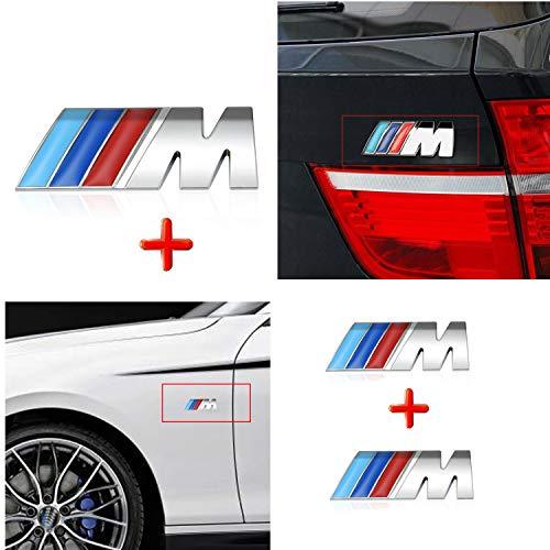 HUAYT 3X M Sport Power Badge Sticker, ABS M Auto-Emblem für F10 F15 F16 F25 F26 F30 Series i 1 2 3 4 5 7 M3 M5 M6 Z1 Z3 Z4 Z8