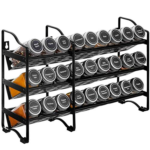 Aozita Expandable Spice Rack Stand Holder for Cabinet or Shelves Wall Mount Black Modern HeavyBase Kitchen Countertop Stand for Seasoning Holder Spice Jars Mini Bottles Does Not Include Jars