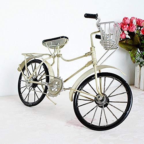CHENSHUAI ArtigianatoinMetallo Vecchia Bicicletta Modello Vintage Vecchia Bici Modello Bicicletta Antica Ornamenti Artigianali Accessori per la casa e Ufficio, Bianco