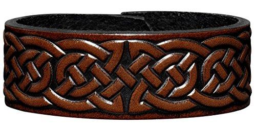 Hoppe & Masztalerz Lederarmband geprägt 24MM aus Vollrindleder Keltischer Knoten (2) braun-antik mit Druckknopfverschluss (nickelfrei) (18 Zentimeter)