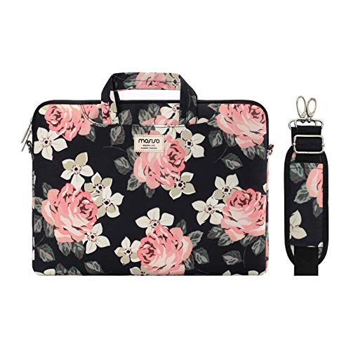 MOSISO Laptop Shoulder Bag Compatible with 13-13.3 inch MacBook Pro, MacBook Air, Notebook Computer, Rose Carrying Briefcase Sleeve Case with Trolley Belt