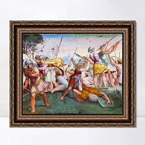 "INVIN ART Framed Canvas Art Giclee Print Series#056 by Raphael/Raffaello Sanzio Wall Art Living Room Home Office Decorations(Vintage Embossed Gold Frame,20""x24"")"