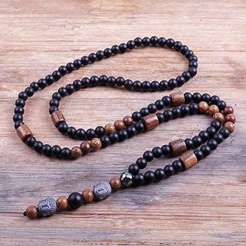K-ONE Diseño Negro 6 Mm Blava Piedras Cuentas de Madera Collar de Cuentas de Buda de hematita para Hombres