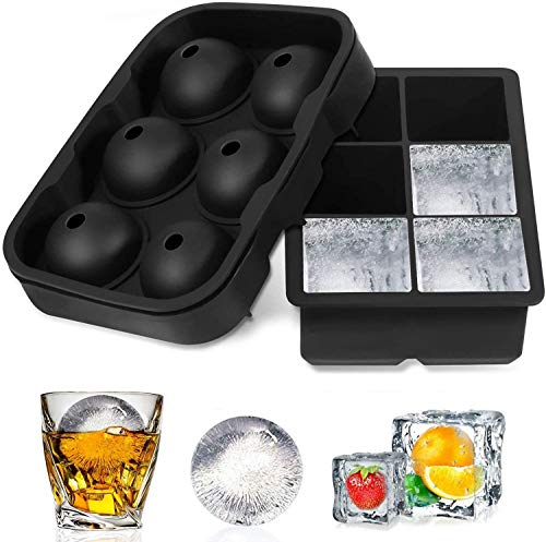 ZIZLY Ice Cube Trays Silicone Set of 2, Sphere Ice Ball Maker with Lid and Large Square Ice Cube Molds for Whiskey, Reusable and BPA Free