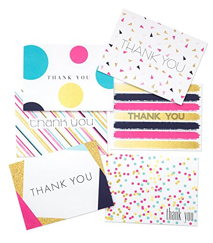 36 Pack Thank You Cards, Bridal Wedding Shower Thank You Cards, 6 Polka Dot Striped Confetti Designs, Birthday Party Blank on the Inside Assorted Note Cards, Envelopes Included 4.75 x 3.5 Inches