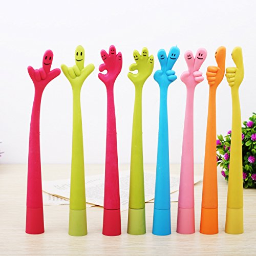 Just Life Kids Gifts Funny Bending Hand Gesture Ballpoint Pen Creative Gift for Student Office Lady 16pcs/lot