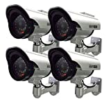 Henxlco 4Pack Dummy Solar Security Camera Fake Flashing Light