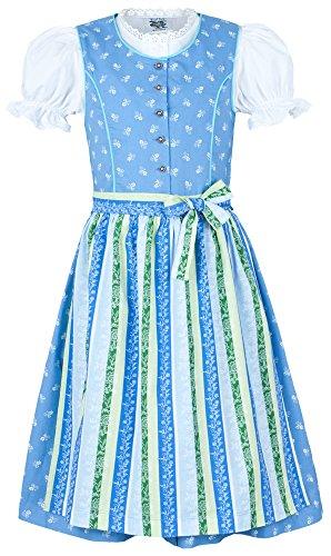 Isar-Trachten Kinder Dirndl Nicole 3-TLG. - Blau Gr. 122 - Trachtenkleid Schürze und Bluse für Mädchen - Schönes Trachtendirndl