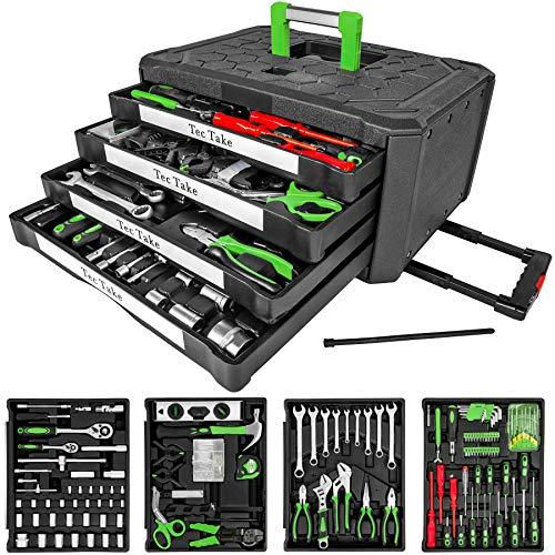TecTake 300 teiliger Werkzeugkoffer mit 4 Schubladen inkl. Werkzeug