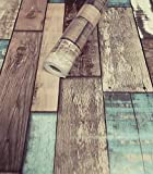 Tapeten Folie 3000-S selbstklebend Holz alt Vintage Dekor hell 10 m x 45 cm Dekorfolie Möbelfolie Tapete 3047
