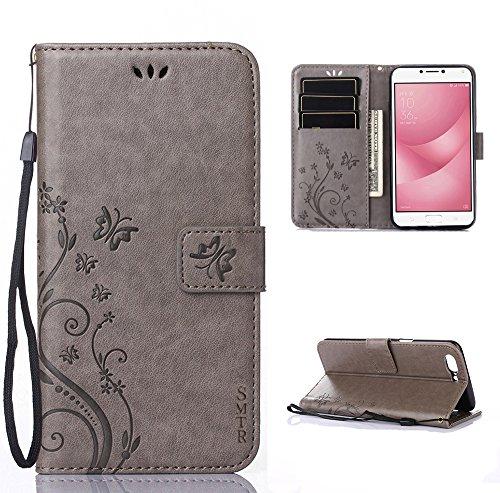 SMTR Wallet Cover Per Asus Zenfone 4 Max ZC520KL (5.2 pollice), Custodia Per Retro Flowers Design Pattern Custodia In Pelle Con Wallet Case Cover (Grigio)