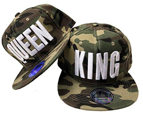 JameStyle26 - Juego de gorras de béisbol en diseño King & Queen King & Queen Camou - Juego de macetas, color...