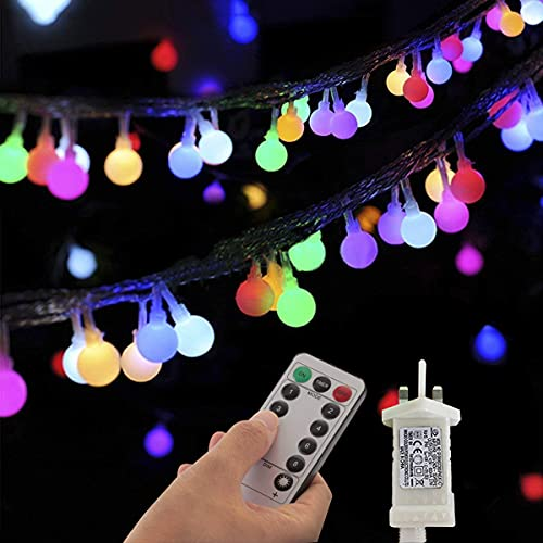 Outdoor Fairy Lights Plug in Powered Multi-Colored 33Ft 100 LED Globe String Lights 8 Lighting Modes with Remote Timer Control for Bedroom Indoor Garden Christmas Wedding Decorations