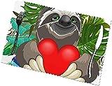 Sloth - Set di 6 tovagliette per interni con cuore rosso sorridente e arcobaleno, lavabili multifunzionali, non sbiadiscono per la decorazione