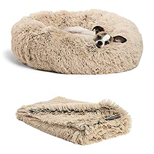 "Best Friends by Sheri Bundle Savings – The Original Calming Shag Donut Cuddler Dog Bed in Small 23″"" x 23″"" and Pet Throw Blanket in 30″"" x 40″"", Taupe. (BND-DBT-SHG-TAU-23SM)"