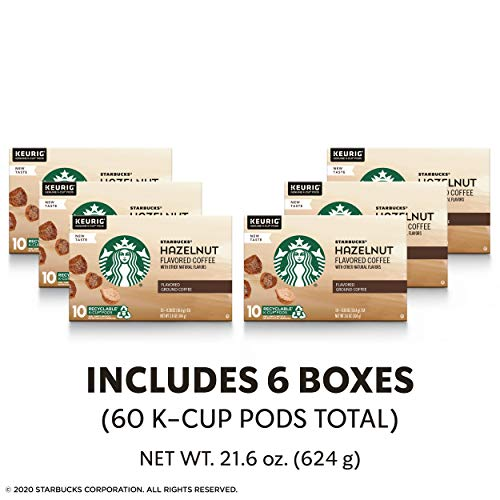 Starbucks Medium Roast K-Cup Coffee Pods — Hazelnut for Keurig Brewers — 6 boxes (60 pods total)