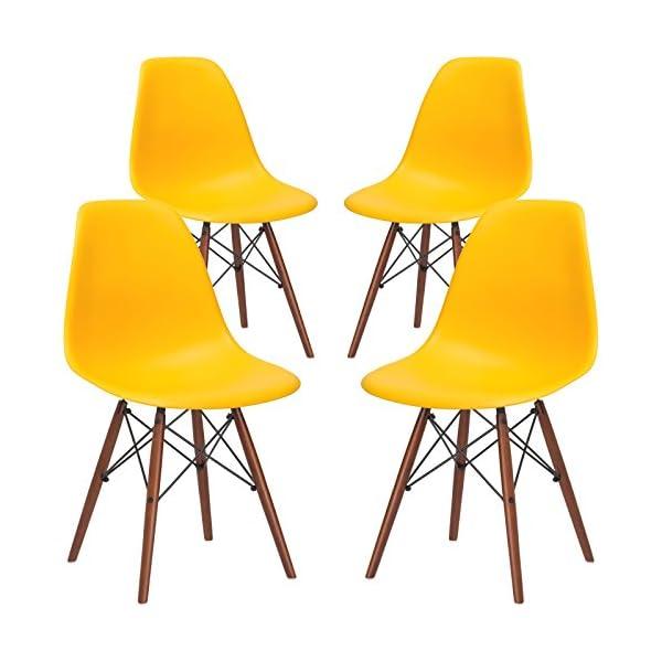 EdgeMod Vortex Modern Mid-Century Side Chair with Wooden Walnut Legs for Kitchen,...
